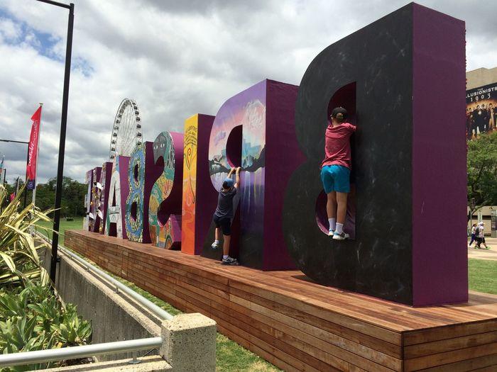 Backwards  Big Wheel Boys Brisban Eye Brisbane Climbing Cloud - Sky Kids Multi Colored Stories From The City