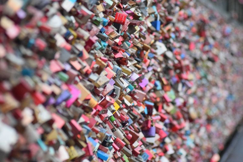 Köln Hohenzollernbrücke Love Multi Colored Padlock Abundance Hanging Positive Emotion Large Group Of Objects Lock Selective Focus
