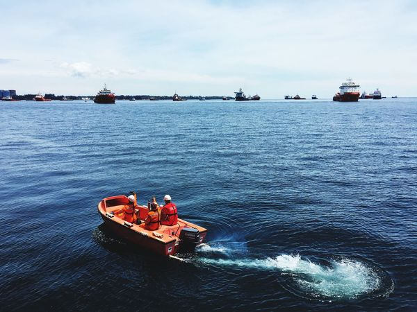 Rescue operation done by an offshore crew Offshore Rescue Operation Oil And Gas Ship Drill