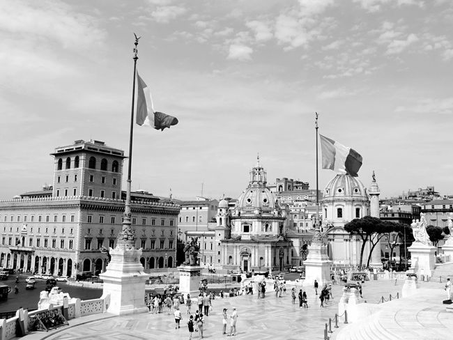 Black & White Blackandwhite Italy Rome City City View  Sky And Trees Sky And Clouds City Views