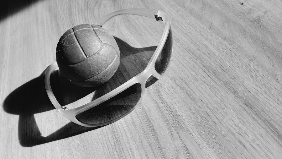 High angle view of ball on table