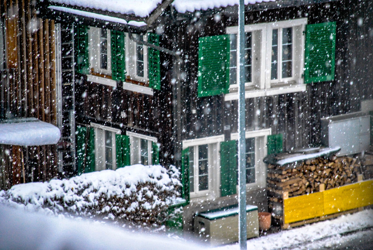 snow, winter, snowing, cold temperature, weather, building exterior, architecture, window, house, built structure, outdoors, car, no people, day, residential building, snowflake, nature, city