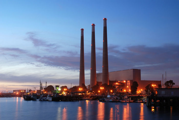 Power station in the sunset Built Structure California Chimney Clouds Electrical Energy Factory Flue Harbour Industry Lights Nature Ocean Pacific Polution Power Power Station Powerhouse Sea Sky Smokestack Sunset USA Water
