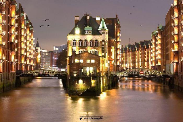 Architecture Illuminated Reflection Built Structure Water Sky Outdoors Night Speicherstadt Hamburg Wasserschloss