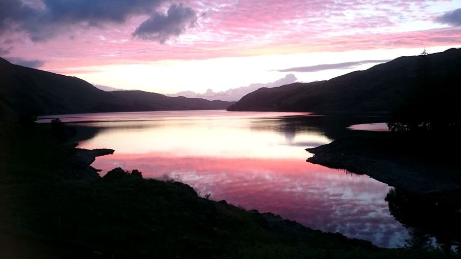Mountain Reflection Lake Landscape Nature Beauty In Nature Scenics Water Silhouette Morning Tranquility Sky Outdoors Mountain Range Cloud - Sky Sunrise Lake View Lake District Orange Sky Pink Sky Beatutiful Sky Running Cumbria 4am Early Morning