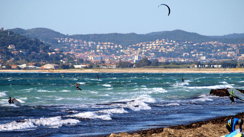 Beach Sport Sea Surfing Wave Water Mountain Aquatic Sport Adventure Extreme Sports Vacations Travel Destinations Outdoors Sand Day People Healthy Lifestyle Nature Sportsman Flying Le Var Hyères Les Palmiers Live For The Story Sommergefühle