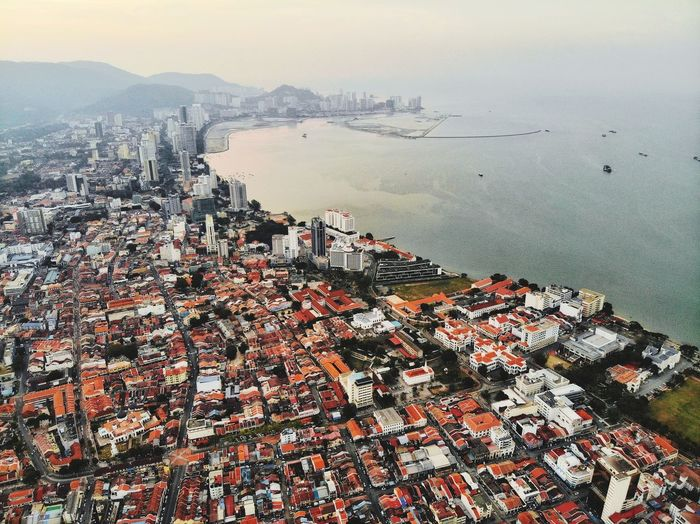 Aerial view of georgetown city, penang malaysia