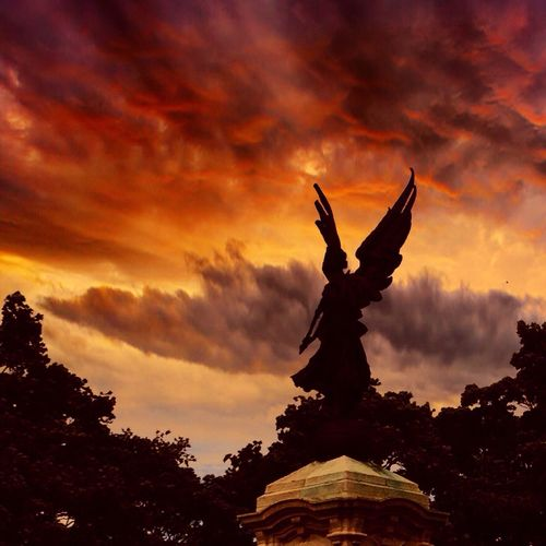 Armageddon Sunset Statue Cloud - Sky Sky Silhouette Architecture Sculpture No People Angel Low Angle View Built Structure Outdoors Symbol Cockerel Armageddon Rapture Judgement Day End Of Days