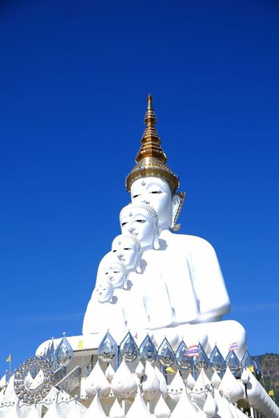 Religion Spirituality Pagoda Architecture Business Finance And Industry Blue Statue Nature Day Clear Sky Sky Travel Destinations Shrine Sculpture Outdoors Place Of Worship No People Gold Colored Building Exterior