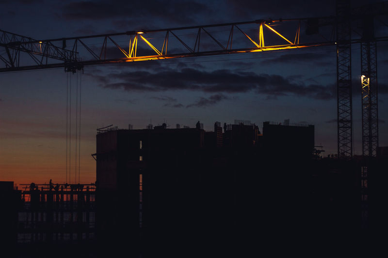 Sky Architecture Cloud - Sky Built Structure Sunset No People Nature Silhouette Building Exterior Water Dusk Sea Illuminated City Outdoors Building Industry Crane - Construction Machinery Skyscraper