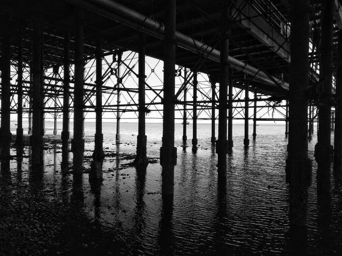 Reflection of pier in water