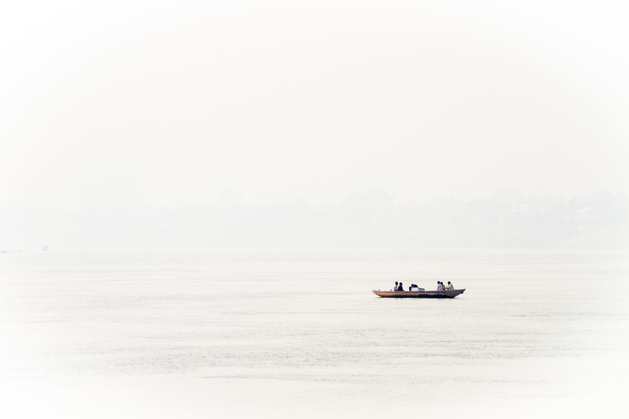 Nautical vessel on sea against sky
