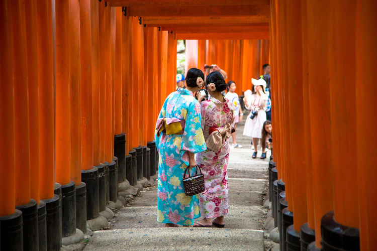 Fushimi Inari-taisha Shrine in Kyoto Japan Fushimi Inari-taisha Adult Adults Only Architecture Cultures Day Friendship Full Length Kimono Kyoto Mature Adult Multi Colored Only Women Outdoors People Real People Standing Togetherness Tradition Traditional Clothing Travel Destinations Two People Women Young Adult Young Women It's About The Journey