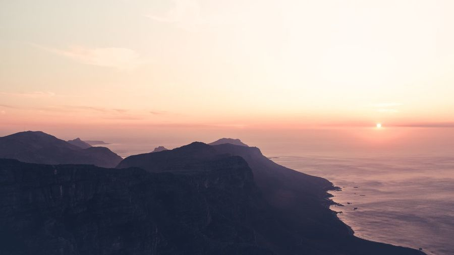 View from the Table Mountain in Capetown during sunset-magic view Sunset Sun Nature Beauty In Nature Mountain Sky Adventure No People Scenery Sea Outdoors Tablemountain Capetown Beauty In Nature