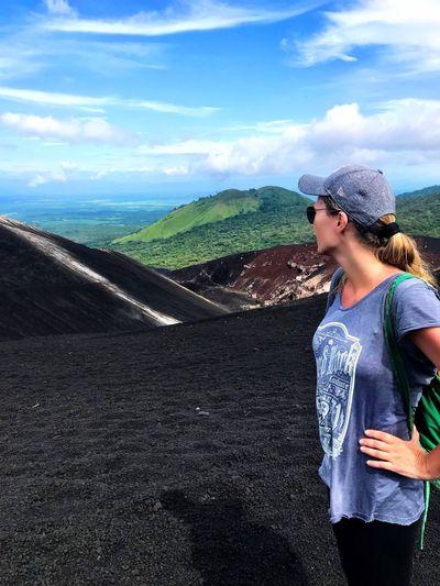Nature Landscape One Person Scenics Women Volcano Crater Hiking Trail Power In Nature Lava Rocks Lava Field Volcanic Crater Volcanic Rock Exploration Nicaragua Cerro Negro Hiking Volcano Landscape Volcano Standing Adventure Determination Energetic
