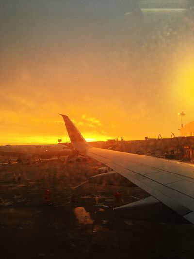 Ready to go Airplane Transportation Aircraft Wing Sky Sunset Travel Airport