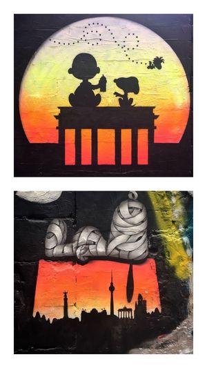 Snoopy !!! Berlin Murals Mural Berlin Berlin Sunset Snoopy World Brandenburger Tor Brandenburg Gate Snoopy Dog Charlie Brown Woodstock Street Art Berlin Berlin Street Art Transfer Print Creativity Art And Craft Representation Close-up Orange Color Mural Paintings