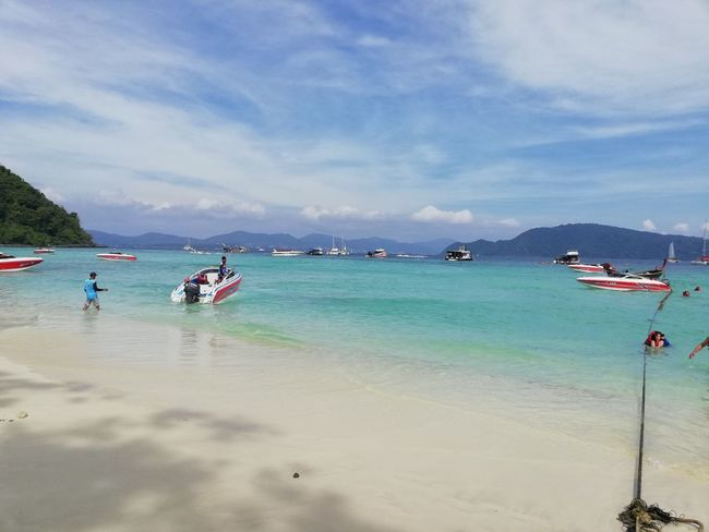 My trip Water Nautical Vessel Sea Beach Sand Summer Blue Tree Sunny Sky Jet Boat Wake - Water Seascape Snorkeling Speedboat Island Turquoise Colored