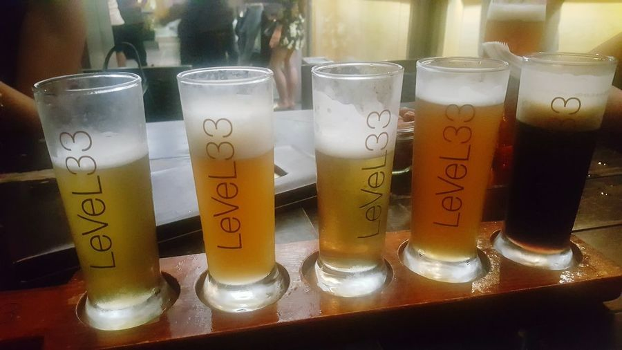 Level33singapore Beer Drink Food And Drink Drinking Glass Beer Paddle beer sampler