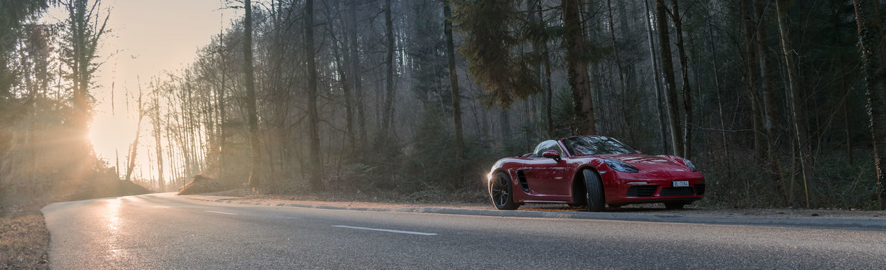 718 Beauty In Nature Boxster S Convertible D5300 Day Landscape Nature Nature Nikon No People Outdoors Porsche Road Sportscar Sunlight Sunrise Travel Tree