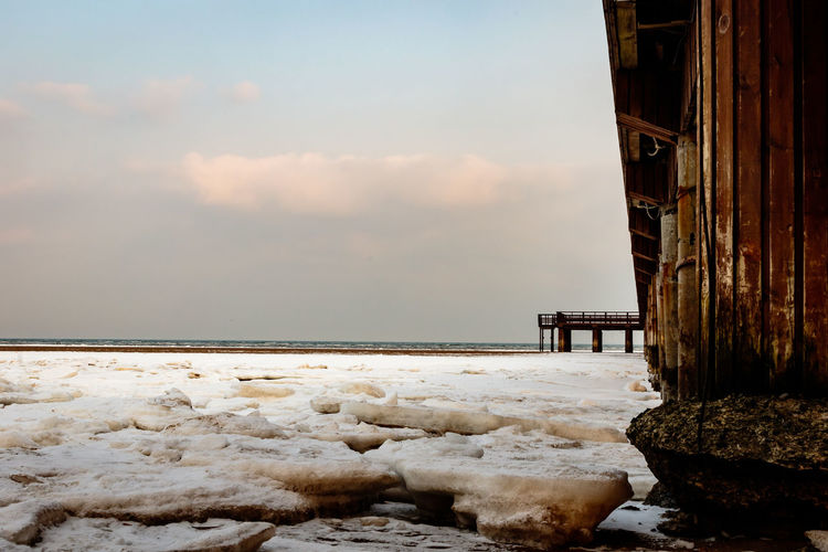 Frozen Hebei Ice Seashore Winter Architecture Beach Beauty In Nature Beidaihe China Day Horizon Over Water Nature No People Outdoors Qinhuangdao Scenics Sea Seascape Seaside Sky Snow Tranquil Scene Tranquility Water