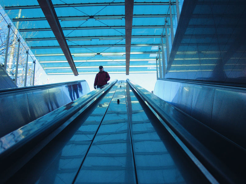 Diminishing Perspective Engineering Escalator Metal Modern Narrow Railing Subway Subway Station