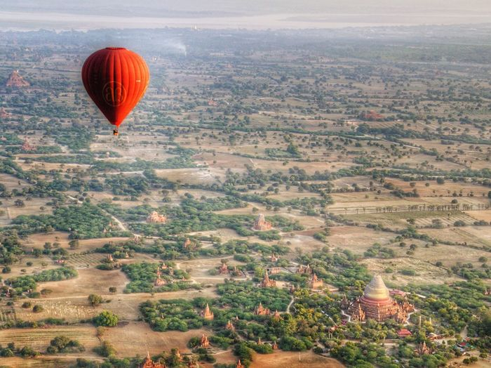 Dhammayazika Balloon Hot Air Balloon Flying Ballooning Festival Mid-air Traditional Festival Heat - Temperature Red Aerial View Landscape Nature