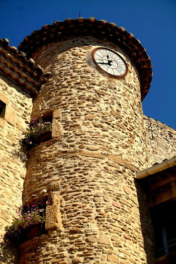 Ancient Architecture Blue Sky Building Exterior Built Structure Chateauneufdupape Clear Sky Clock Tower Contrast Eye4photography  EyeEm Best Shots EyeEm Gallery EyeEmBestPics Fortified Wall France History Low Angle View Old Town Provence Stone Material Stone Wall The Past The Week On EyeEm Tower