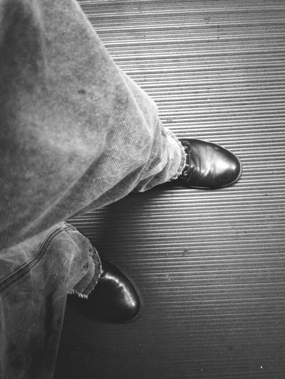 Low Section Men Standing Human Leg Shoe High Angle View Human Foot Limb Close-up Personal Perspective