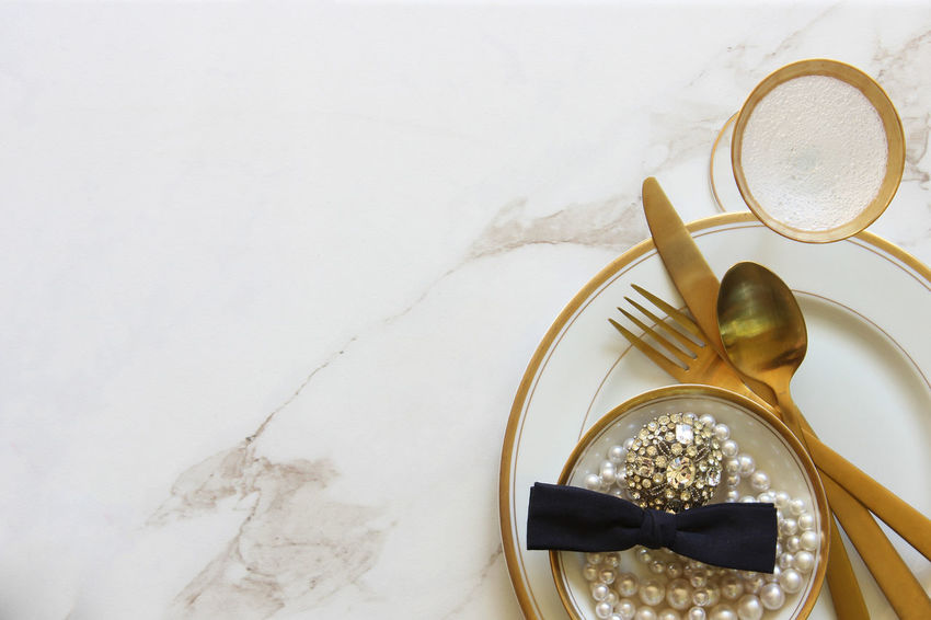 Elegant dinner setting Background Bridal Celebration Copy Space Dinner Directly Above Dishes Elegant Event Fashion Fine Dining Food And Drink Glamour Gold Gold And White Holiday Meal No People Party Pearls Reception Table Table Setting Wedding White