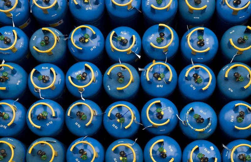Full frame shot of blue cylinders