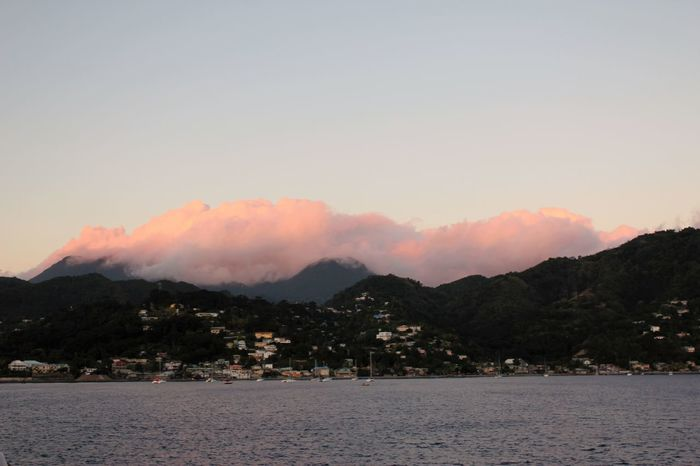 Pink Sunset Clouds over Dominica Clouds Over Dominica Pink Clouds In The Evening..and In The Opposite Sundirection. Sunset Clouds Sunset Clouds Over Downtown Beauty In Nature Caribbean Weather Day Mountain Nature No People Outdoors Pink Clouds Pink Clouds At Sunset Sky Sunset Clouds And Sky Water Weather Conditions