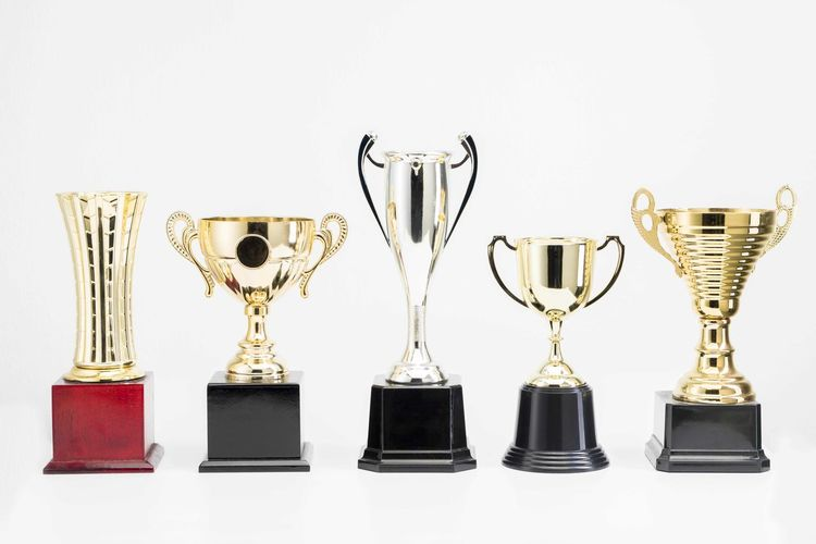 Variety of Trophy Cup on white background Achievement AWARD White Background Success Trophy Studio Shot Indoors  Still Life Gold Colored Winning Copy Space Side By Side No People Shiny In A Row Cut Out Variation Competition Arrangement Group Of Objects