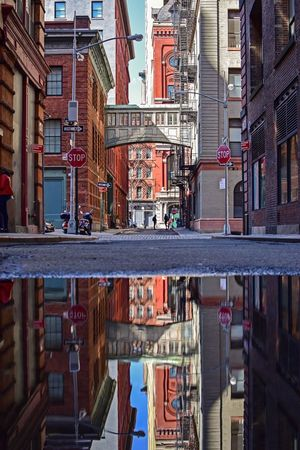 Tribeca NYC Creativity Reflection Reflections Reflection_collection Reflections In The Water NYC Photography NYC Street Photography Architecture Built Structure Building Exterior City Building No People Day Street Transportation High Angle View Water Summer Exploratorium Visual Creativity