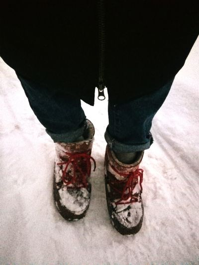Snow Winter Jeans Human Leg Standing Human Foot Footwear Boot Foot Cold Cold Temperature