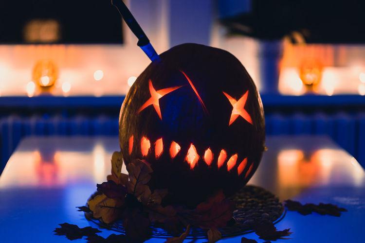 Close-up of illuminated pumpkin