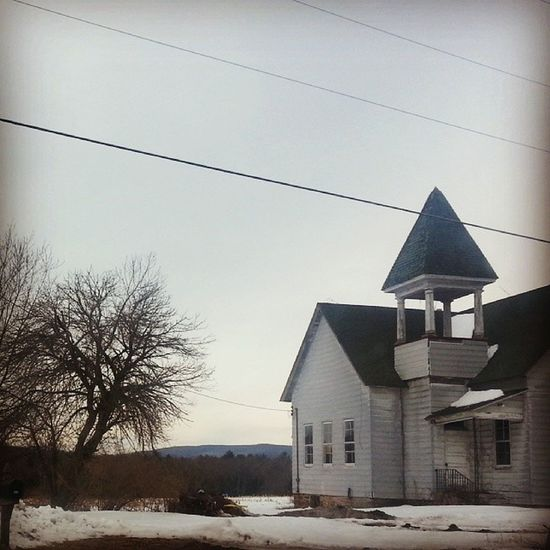Batless belfry Deconsecrated Church Chapel Country winter snow wires clapboard creepy decrepit