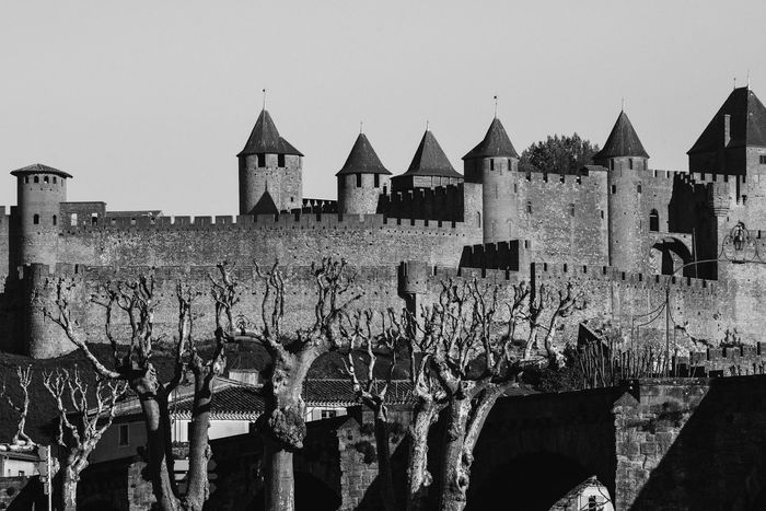 Cite Fortress in Carcassonne in France Architecture Blackandwhite Photography Bridge Built Structure Carcassonne Castle Cityscape Cityscapes Famous Famous Place Fortress France History Landscape Mediaeval No People Outdoors Rural Scene Sightseeing Tourism Tower Travel Destinations Traveling Wall