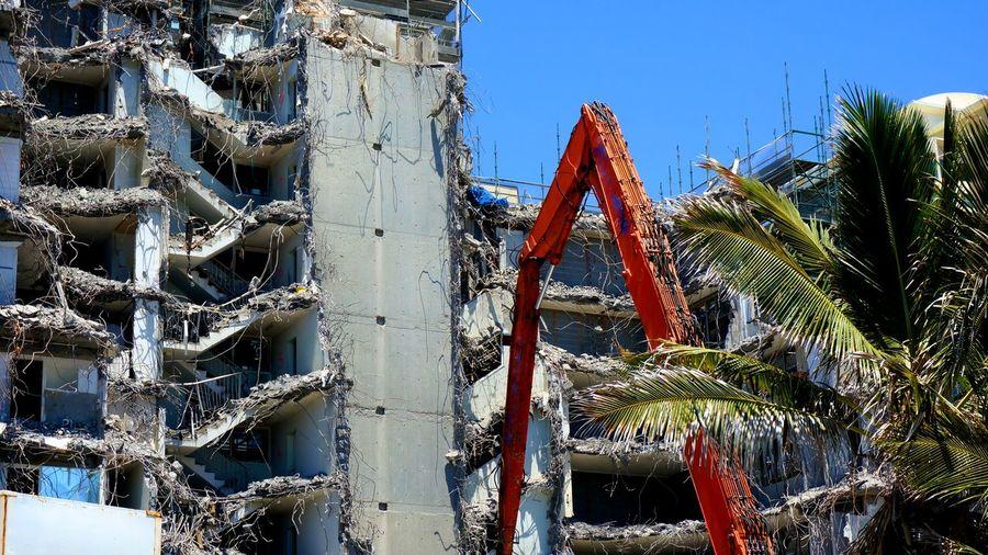 Demolition of old hi-rise building. Broken Broken Concrete Collapsed Building Demolition Hi-rise Demolition Old Building  Tear Down Twisted Steel Twisted Steel And Concrete Wrecking