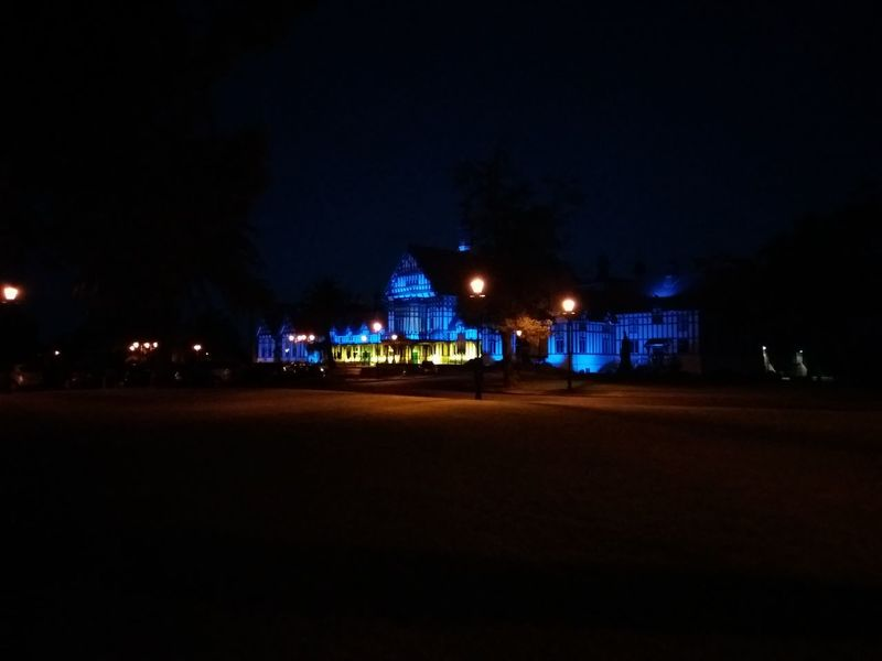 The iconic Blue Baths complex in Rotorua New Zealand. New Zealand Architecture Night Lights