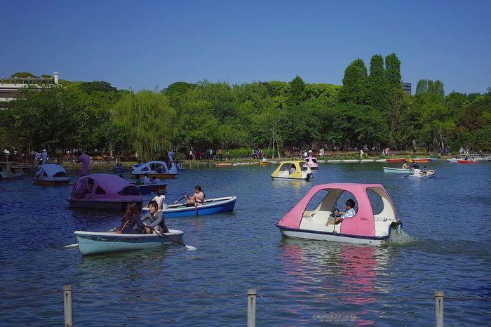 Holiday POV Boats Pond Holiday Landscape Couple Enjoying Life Sunny Day Skyporn