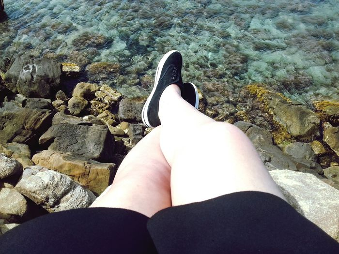 Low Section Women Sea Water Human Leg Beach Sitting Sunlight Personal Perspective Human Foot