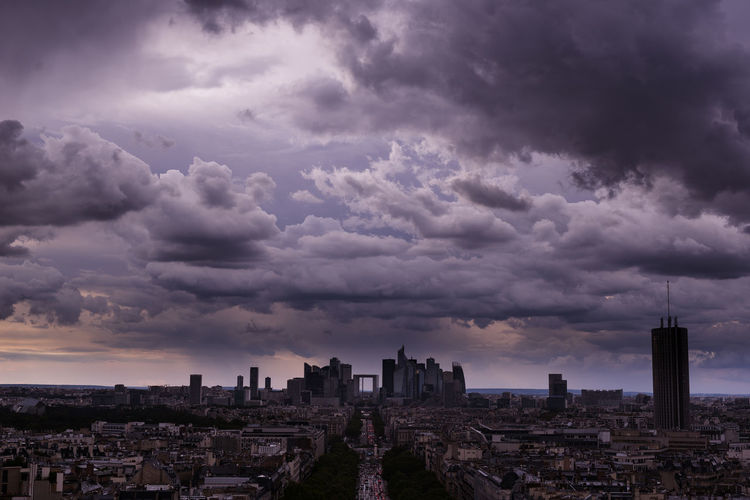 La Défense Grande Arche De La Défense La Défense Paris Rain Skyline Vanilla Sky View Architecture Building Exterior Built Structure City Cityscape Cloud - Sky Clouds And Sky Day Europe History Nature No People Outdoors Purple Sky Skyscraper Storm Cloud Travel Destinations