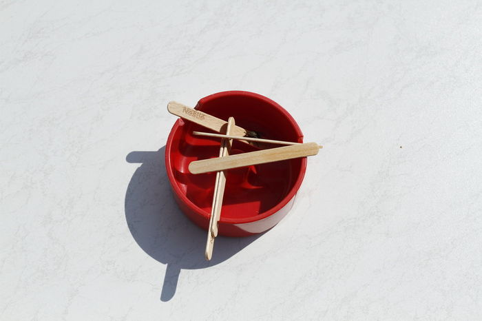 Ashtray  Close-up Day Directly Above Food High Angle View Ice Stick Indoors  No People Red Still Life White Background