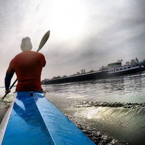 Kajak Kayak Paddling Training Danube Ship Goprohero4black