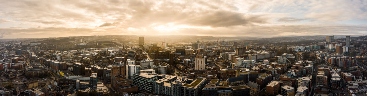 Aerial view of sheffield city at sunrise in winter
