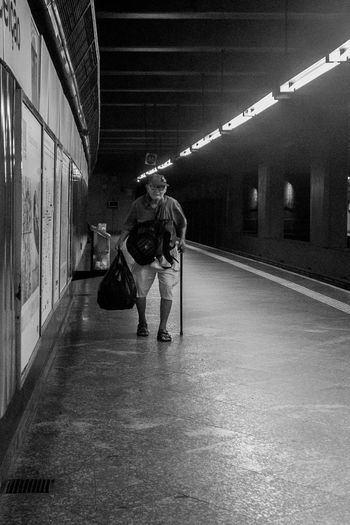 Old man Man Bnw Urban Subway Blackandwhite Sampa Full Length Men Rear View Walking Built Structure Indoors