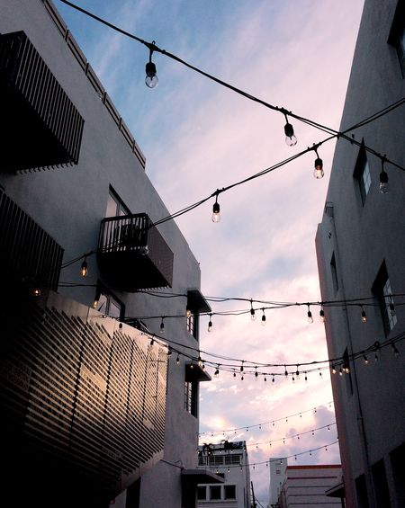 Alleyway Alley South Beach Miami Beach Fading Light Pastel Soft Colors  Dusk Twilight String Lights Building Building Exterior Building No People Cable City Decoration Lighting Equipment Hanging Electricity  Outdoors Sunset #urbanana: The Urban Playground