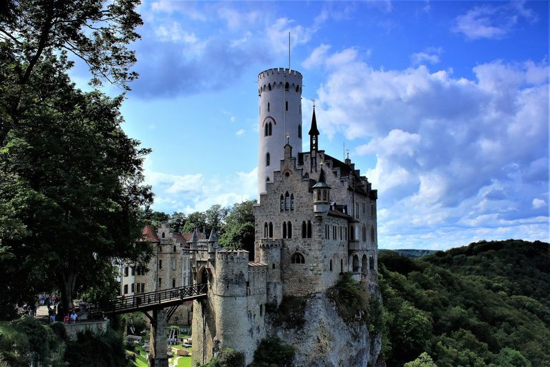 Castle Schloss Lichtenstein Architecture Bell Tower Building Exterior Built Structure Cloud - Sky Day Famous Building History Low Angle View Nature No People Outdoors Schwäbische Alb Sky Travel Destinations Tree