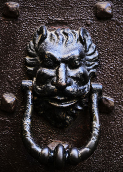 Close-up of metal door knocker
